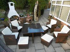 LUXURY ASSEMBLED RATTAN GARDEN FURNITURE CUBE SET CHAIRS TABLE PATIO 8 SEATER