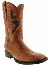 mens cognac brown ostrich exotic crocodile western leather cowboy rodeo boots
