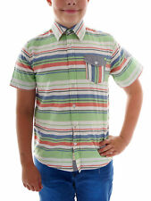 Protest Short-sleeved Shirt Flamer green striped Collar Slim Fit Buttons