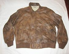 MEMBERS ONLY Vtg 80s Distressed Weathered Brown Leather Bomber Jacket Coat 2X
