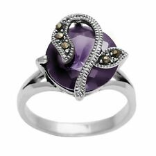 Silverly .925 Sterling Silver Marcasite Purple Round CZ Flower Ring