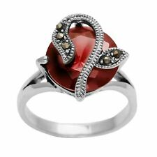 Silverly .925 Sterling Silver Marcasite Round Cut Red CZ Flower Ring