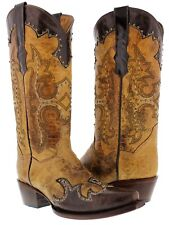 Women's Brown Beige Studded Western Leather Cowboy Cowgirl Rodeo Boots Riding