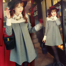 Spring Autumn Womens Elegant Korean Doll Collar Woolen Colorblock Mini Dress