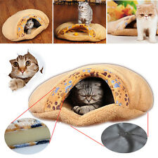 Soft Warm Cat/Dog Kitten Cave Pet Bed House Puppy Sleeping Mat Igloo Nest Brown