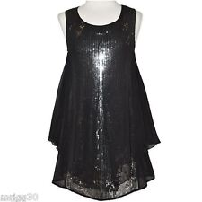 GIRLS  Black silver SEQUINS Lined Party DRESS NEW Formal graduation wedding
