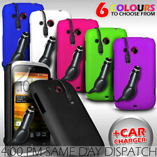 HARD BACK SKIN CASE COVER, FILM & CAR CHARGER FOR HTC DESIRE C