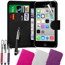 PU Leather Wallet Case Cover, LCD Film & Retractable Stylus for Apple Iphone 5C