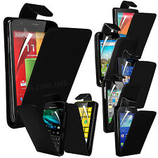 Black Premium PU Leather Flip Case Cover Pouch & LCD Film For Various Handsets