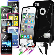 S-Line Wave Gel Skin Case Cover Film & Earphone for Various Mobile Phones
