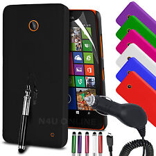 HARD BACK SKIN CASE COVER, LCD FILM, PEN & IN CAR CHARGER FOR NOKIA LUMIA 630
