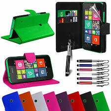 PU Leather Flip Wallet Book Case Cover For NOKIA Lumia 530 Free Screen Protector