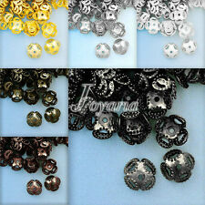 Approx 70-110Pcs Iron Normal Filigree Flower Bead Caps 8x8mm Jewelry Findings