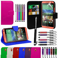 Stand Wallet Flip Case Cover, LCD Film & 3 Pen Set For HTC Desire 610