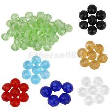 Lot 50pcs Crystal Faceted Glass Rondelle Loose Beads Spacer Jewelry Making 4mm