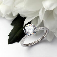 FULL ETERNITY WITH SOLITAIRE STERLING SILVER SIMULATED DIAMOND RING RHODIUM
