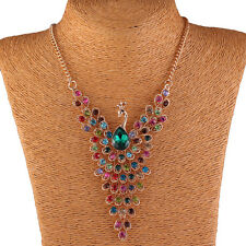 Stylish Women Jewelry Peacock Colorful Zinc Alloy Crystal Necklace Pendant
