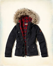Hollister by Abercrombie Women's Heritage Flannel Lined Anorak Jacket Navy Large