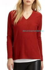 NWT VINCE DOUBLE V NECK 100% CASHMERE SWEATER COLOR CRIMSON (DEEP RED)