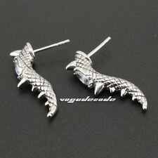 316L Stainless Steel White CZ Stone Claw Tail Mens Biker Stud Earring 3Q008A