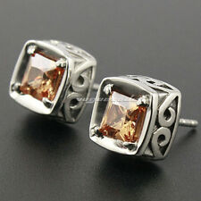 316L Stainless Steel Champagne CZ Stone Fashion Biker Punk Stud Earring 4Y009A