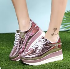 Women's Wedge Heels Platform Sports Shoes Lace-up Thick Soles Sneakers Shoes