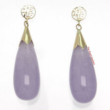 14k Solid Yellow Gold GOOD FORTUNE Drop Raindrop Lavender Jade Stud Earrings