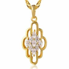 Crystal Crystal Ruby Long Chain Pendant+Necklace gold filled flower fashion