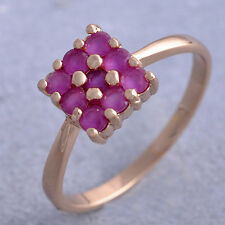 unique Square Red Ruby crystal Promise Love Band Ring Rose Gold Filled Size 8 9