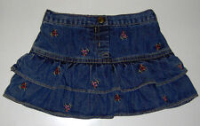 EUC Gymboree 100% cotton blue denim jean floral skort skirt pants 2T