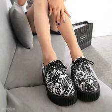Hot Women Lady Warm Floral Stacked Lace Up Punk Goth Flat Platform Creeper Shoes