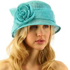 Summer 1920s Flapper Sinamay Floral Cloche Bucket Millinery Church Hat