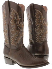 Men's Brown Lizard Western Cowboy Leather Exotic Rodeo Riding Boots Team West