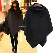 Womens Casual Cape Black Batwing Wool Poncho Jacket Lady Winter Warm Cloak CoatS