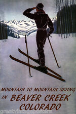 DOWNHILL MOUNTAIN SKIING SKI IN BEAVER CREEK COLORADO SPORT VINTAGE POSTER REPRO