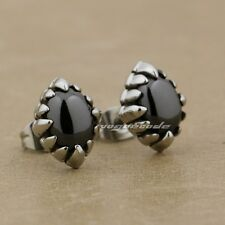 316L Stainless Steel Claws Black CZ Stone Fashion Stud Earring 4Y002A