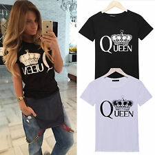 Women Summer Queen Letter Print Funny T-shirt Loose Top Casual Blouses Tee Shirt