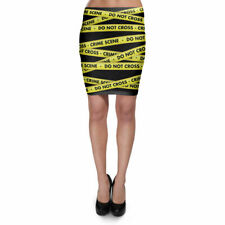 Crime Scene Tape Bodycon Skirt XS-3XL Stretch Short Skirt