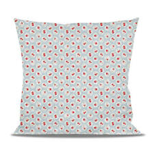 Shabby Chic Florals on Blue Fleece Cushion - Heart, Round or Square Shaped Pillo