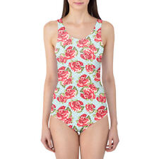 English Roses Blue Polka Dots Women's Swimsuit XS-3XL One Piece, Removable Paddi