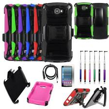 Phone Case For LG Spree 4G LTE Holster Cover Stand USB Charger Film Stylus