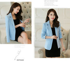 New Stylish Womens Candy Color One Button Blazer Casual Jacket Slim Suit Coat