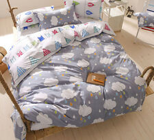 Clouds and Rain Single Queen King Size Bed Pillowcase Quilt Duvet Cover Set