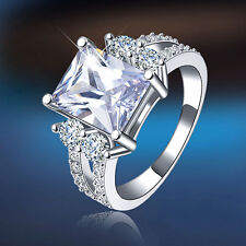 Women Lady Square Zircon Ring White Gold Plated Party Jewelry US 6-9 Dulcet