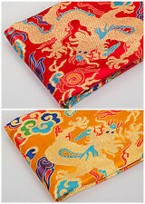 "1/2 YD X 28"" SILK DAMASK JACQUARD BROCADE FABRIC PIECE TAPESTRY: CHINESE DRAGON"