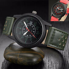 Vintage Classic Men Waterproof Date Army Watch Leather Strap Sports Quartz Watch
