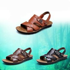 New Mens Sandals Summer Outdoor Leather Beach Shoes Casual Slip On Loafers