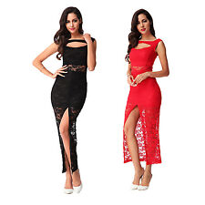 Sexy Women Lace Sleeveless Slim Split Long Dress Party Clubwear Cocktail Dresses