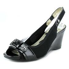 Anne Klein Sport Perfered Women  Open Toe Synthetic Black Wedge Heel NWOB