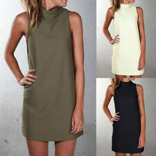 Womens Casual Summer Sleeveless Evening Party Turtle Neck Beach Tunic Tent Dress